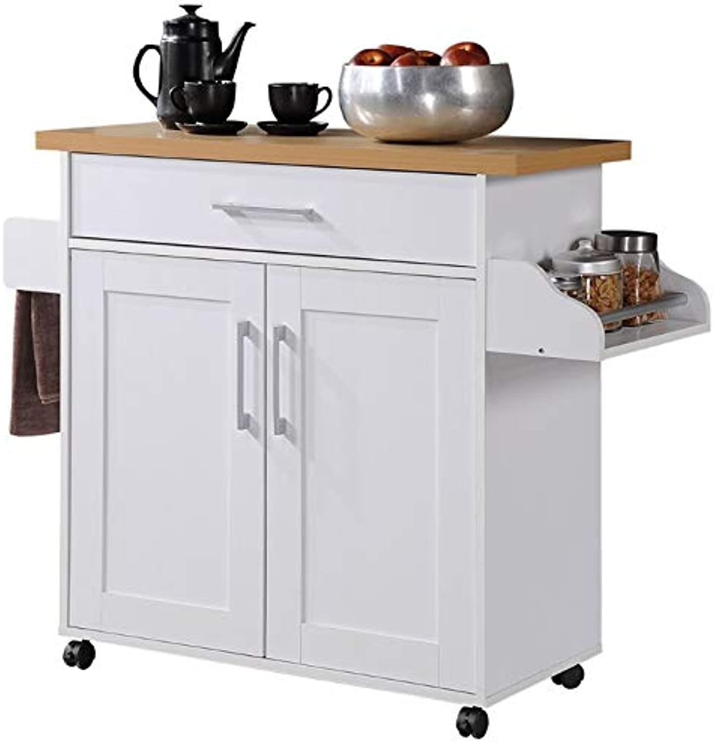 Pemberly Row Kitchen Island with Spice Rack in White