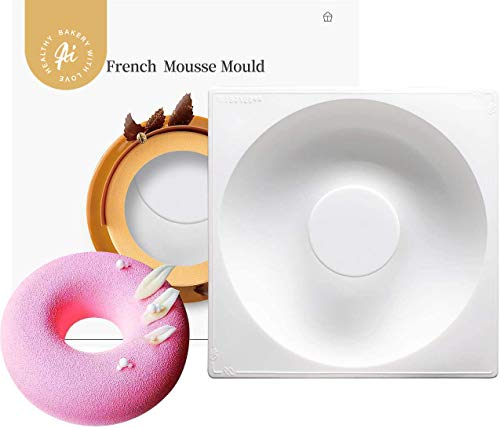 AICHEF Acco French Dessert Baking Cake Mousse Silicone Molds.Household High Temperature Patisserie Mould Mousse.(AICHEF Acuff 7 Inch Doughnut Shaped French Dessert).