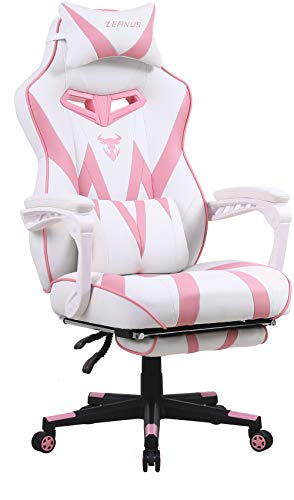Pink Gaming Chair, Gaming Computer Chair for Girls, Reclining Gamer Chair with Footrest, Ergonomic PC Gaming Chair with Massage, Gaming Desk Chair for Women, High Back Gaming Chairs for Adults (Pink)