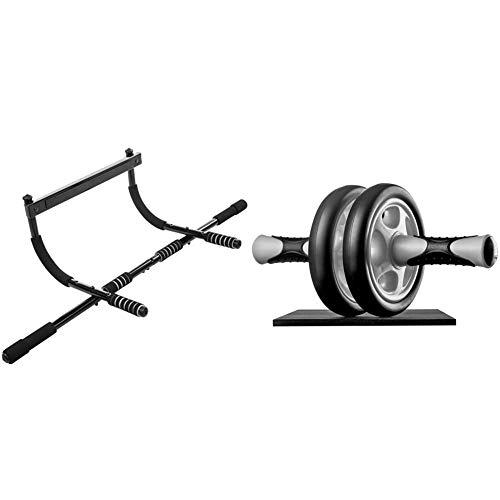 Ultrasport Unisex 4-1 Klimmzugstange Türreck Klimmzugstange, Oberkörpertrainer, Schwarz, 55x23.5x8 cm & Bauchtrainer AB Wheel,Bauchmuskeltrainer für Zuhause, zum Trainieren von Bauchmuskeln