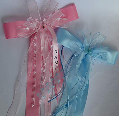 Rosa Mädchentraum: Zuckertütenschleife mit Glitzerschmetterling und Herzen, mit NAME personalisiert