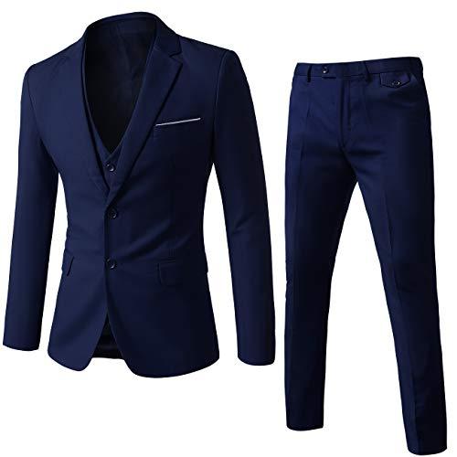 MOGU Mens Slim Fit 3 Piece Suit Blazer Jacket Pants and Vest Set US Size 38 Navy