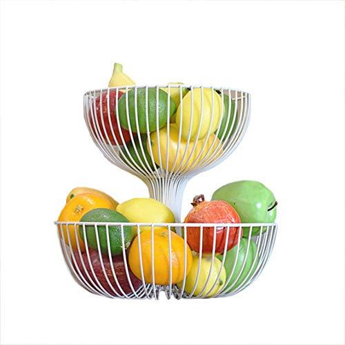 DLILI Soporte para tazón de Cesta de Frutas de encimera de 2 Niveles, Almacenamiento de Pan y Verduras, para Sala de Estar y Mesa de Cocina Moderna (Negro, Blanco), Blanco, M, Cesta de Frutas
