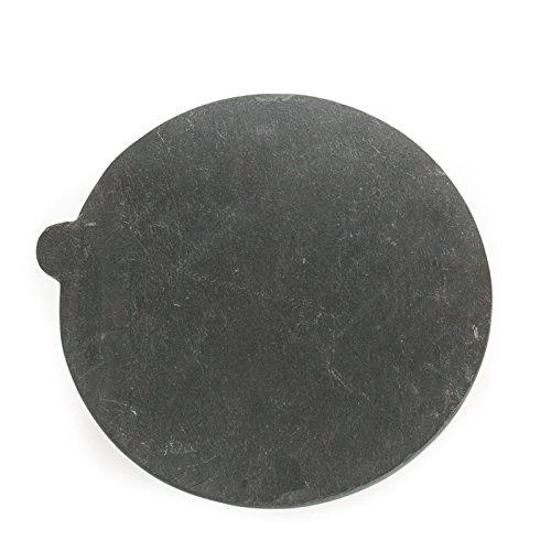 Yuchengstone Plateau en marbre avec poignée Blanc Ø30 cm, h1,5 cm, Noir, 30 x 30 x 1.5 cm