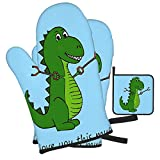 Woidxzxza T-Rex Dinosaur with Grabbers - I Love You This Much! Oven Mitts and Pot Holders Set, Heat Resistant Kitchen Bake Gloves Non-Slip Pot Holders for Cooking, Baking,Grilling, Barbecue,BBQ