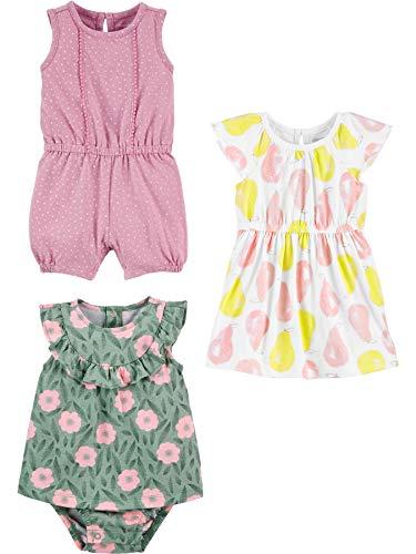 Simple Joys by Carter's 3-Pack Romper, Sunsuit and Dress Pelele, Puntos/Flores/Peras, 24 Meses, Pack de 3