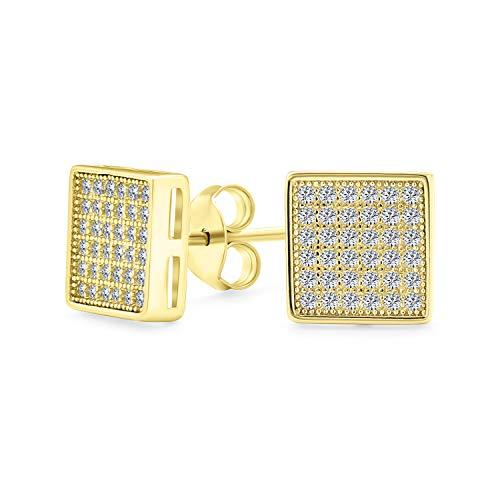 Geométrico cuadrado en forma de circonio cúbico micro Pave CZ pendientes para hombres para mujeres 14K oro plateado plata de ley 8MM