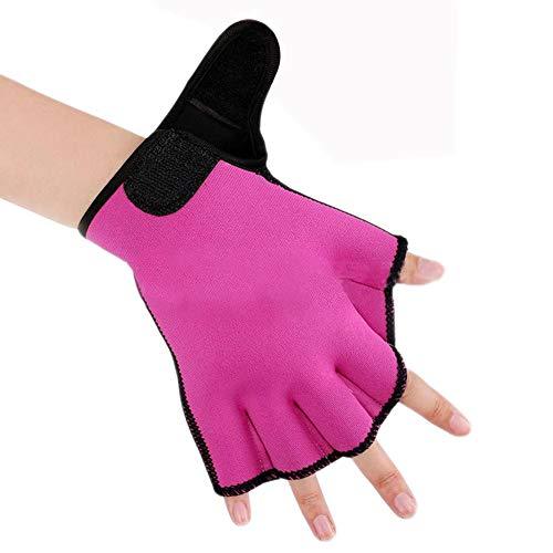 Efanr 1 Pair Training Aqua Fit Swim Webbed Gloves Aquatic Fitness Water Resistance Gloves for Women Men Children (Rose Red, M)