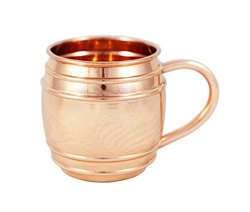 Copper Barrel Mug with Lines for Moscow Mules - 16 oz - 100% Pure Copper Mug by Alchemade