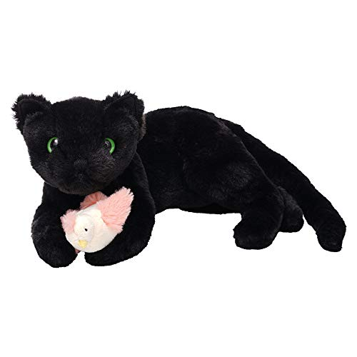 Manhattan Toy 160130 Ninja Kitty Stuffed Animal Cat Front Paws and Magnetic Bird Toy, Multicolour