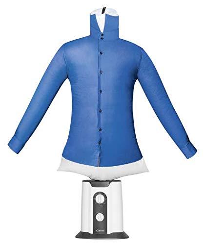 Bomann HBB 6025 CB Hemden-und Blusenbügler, 2 ind 1-Trocknen und Bügeln in einem Schritt, One Size-Ballonkörper (XS-XXL), 180 Minuten-Timer, Weiß/Schwarz, 1260 cm Höhe Mit Puppe