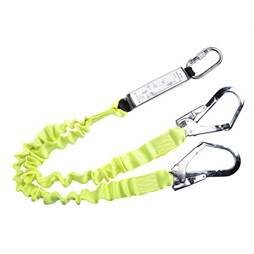 Workwear World ww225 Double Ended Hi Vis Gelb Ziehharmonika Stretch Absturzsicherung mit 2 Gerüstbauer Haken & Karabiner