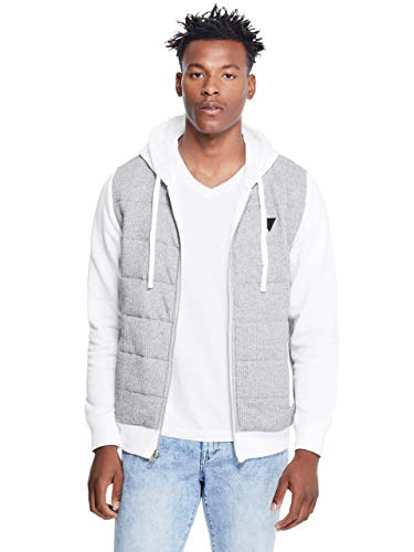 GUESS Factory Men's Luther Blocked Puffer Zip-Up Jacket Hoodie