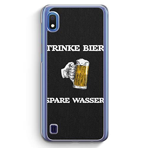 Trinke Bier - Spare Wasser - Hülle für Samsung Galaxy A10 - Motiv Design Spruch Jungs Männer Lustig Witzig Cool - Cover Hardcase Handyhülle Schutzhülle Hülle Schale