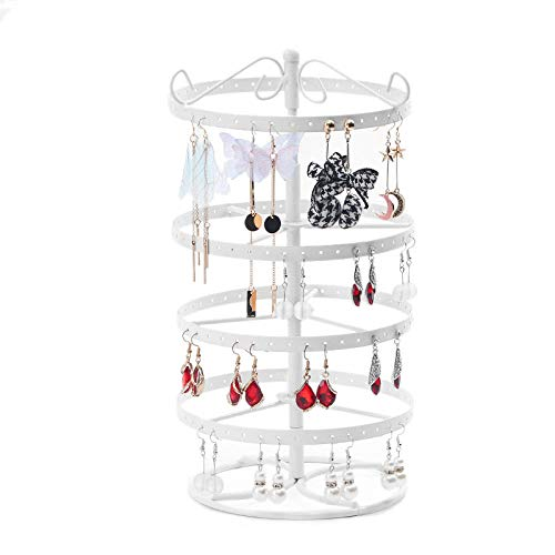 Hanging Jewellery Stand/Necklace Holder Jewellery Tree Metal Rotating Ear Stud Display Fixtures 3 Colors-White