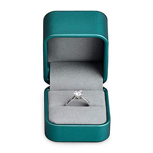 Oirlv Anello in pelle, in microfibra, confezione regalo per proposte di matrimonio, piccolo anello porta anelli in vetrina, elegante colore verde
