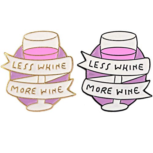 CoSunny Less Whine More Wine Lapel Pin 2 Piece Set Glass Cup Enamel Brooch...