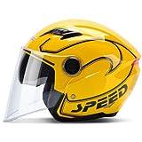 Dgtyui Casco moto estivo casco scooter unisex casco antivento e antivento UV doppia visiera parasole casco moto off-road - Giallo 3