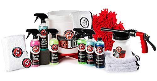 Adam's Arsenal Builder Car Detailing Kit (17 Piece) - Our Best Value Gift Car Wash Kit Complete With Bucket Foam Gun Car Wash Soap Spray Car Wax Wheel Cleaner Interior Cleaner Towels & More