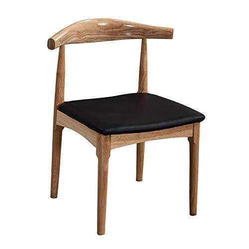 JOMSK Asiento 2 sillas de Madera nórdica Cuerno Presidente Inicio Restaurante Hotel Cafe Tea Shop Silla Moderna Minimalista for Silla de Comedor (Color : Black, Size : 45cm x 49cm x 77cm)