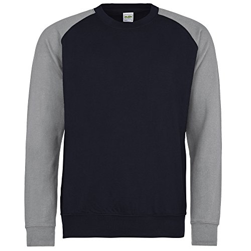 Awdis Herren Baseball Sweatshirt, zweifarbig (XL) (Marineblau/Grau meliert)