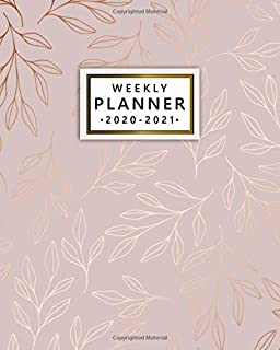 2020-2021 Weekly Planner: Nifty Two Year Weekly Schedule Agenda & Planner - 2 Year Organizer with To-Do's, U.S. Holidays, Inspirational Quotes, Vision Board & Notes - Beautiful Rose Gold Leaves