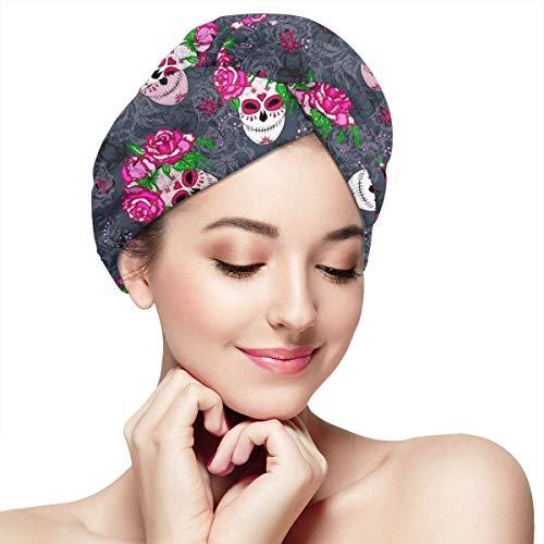 Rose Rose Flower Day Of The Dead Sugar Skull Hair Drying Towel - Casquette cheveux secs pour femmes filles