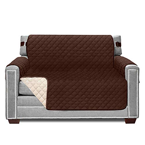Sofa Shield Original Patent Pending Reversible Chair Protector, Many Colors, Seat Width to 48 Inch, Furniture Slipcover, 2 Inch Strap, Chairs Slip Cover Throw for Pets, Kids, Armchair, Chocolate Beige