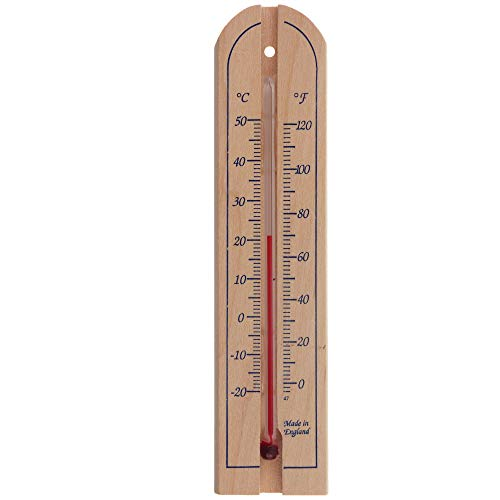 Traditional Wooden Room Thermometer to Measure Room Temperature - Can be used Indoor or Outdoor and is Ideal for Home, Office, Garden, Greenhouse or Garage