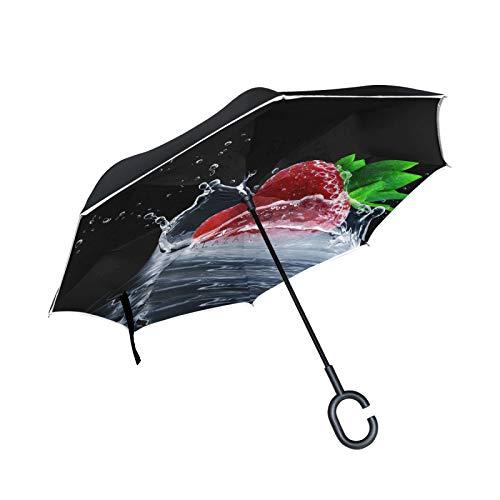 Paraguas invertido de Doble Capa, a Prueba de Viento, para Exteriores, para Lluvia, Sol, para automóvil, con Mango en Forma de C, para reversa, con Mango - Fresa