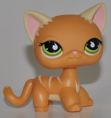 Littlest Pet Shop Shorthair Kitten #525 (Orange, Green Eyes, White Ears) (Retired) Collector Toy - LPS Collectible Replacement Single Figure - Loose (OOP Out of Package & Print)