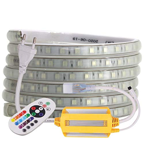 Striscia LED RGB Multicolore, Strip flessibile, 220 V AC 60 LED, IP68, impermeabile, LED Strip Light con cambio colore 24 tasti (5 m)