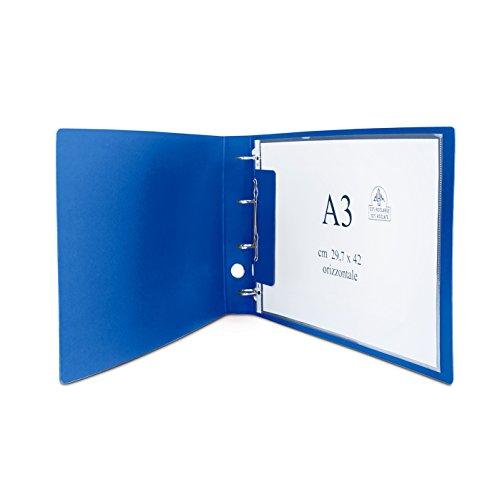 CLAM Raccoglitore orizzontale per fogli e buste A3 nel formato massimo cm 30,5 x 42. Meccanismo ad anelli. Dorso 5 cm.