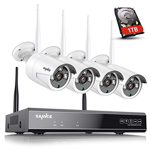 【8CH Expandable&Audio】 SANNCE Wireless Security Camera System 8CH 5MP H.264+ Home NVR w/ 4X 3MP Outdoor Metal WiFi Surveillance IP Cameras, Built-in Mic, P2P & Smart AI Human Detection(1TB HDD)