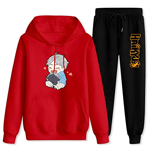 Jsmllia Unisex Casual Jogging Suit Sugaw-ara Kou-shi Hoodie Sweatpants Suits Anime Pullover Tracksuit Outfit Women-2XL/Men-XL Red and Black