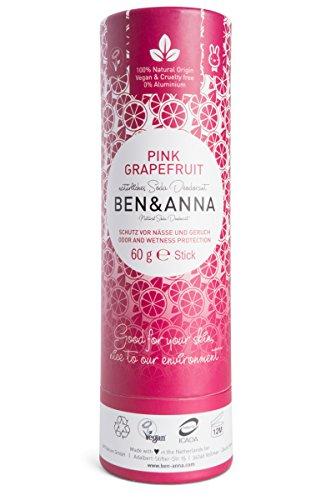 Desodorante de soda natural Ben&Anna, 100% sin aluminio, libre de crueldad, vegano, certificado natural con manteca de karité orgánica y bicarbonato de soda, fabricado en Alemania, pomelo rosa, 60 g