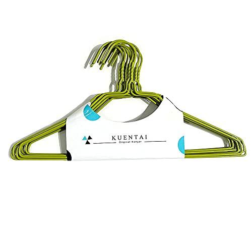 KUENTAI 針金ハンガー 100本 38.5cm ワイヤーハンガー すべらない 大容量 業務用 収納 ランドリー 衣類 物干し クローゼット 丈夫 頑丈 黒 白 (グリーン)
