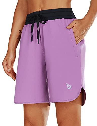 BALEAF Women's 7' Athletic Long Running Shorts Zipper Pocket Drawstring for Gym Hiking Sports Black/Purple Size M