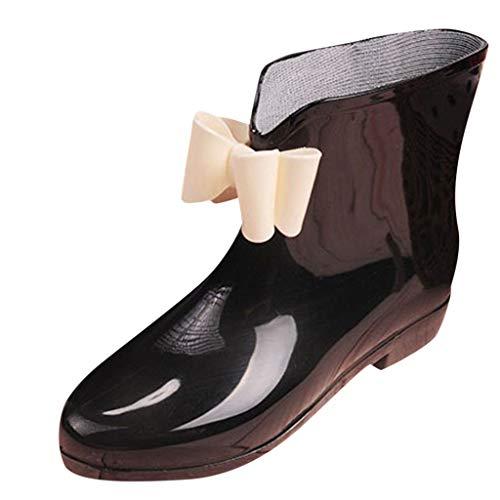 PVC Damen Schadstofffreie Gummistiefel Mädchen Süß Bowknot Kurz Regenstiefel Trendige Wasserdicht Rutschfeste Gartenschuhe Freizeit Outdoor Regenschuhe Stiefel Rain Boots (35.5 EU, Schwarz)