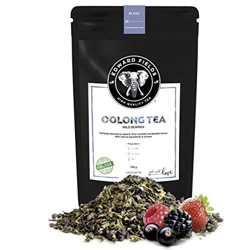 Edward Fields Tea ® - Té azul Oolong orgánico a granel con Frutos Rojos. Té bio recolectado a mano con ingredientes y aromas naturales, 100 gramos, China.