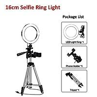 LEDライトリングのためのLEDライトリングのためのLOWM写真撮影のライトライティングのライティングが付いているYouTubeホルダーカメラ電話クリップスタジオ (Color : 16cm with tripod)
