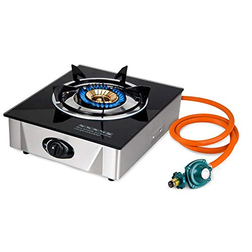 Single Propane Gas Burner Stove with Auto Ignition Tempered Glass Top Hose & Regulator for Camping and Outdoor Cooking (One Burner)