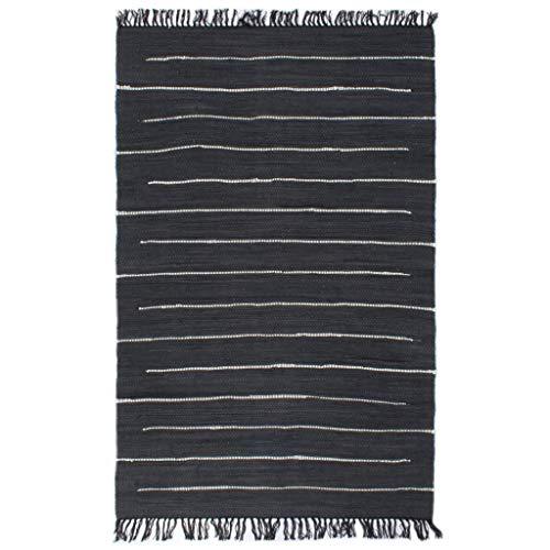 Alfombra tejida a mano Chindi de algodón, 160 x 230 cm, color antracita
