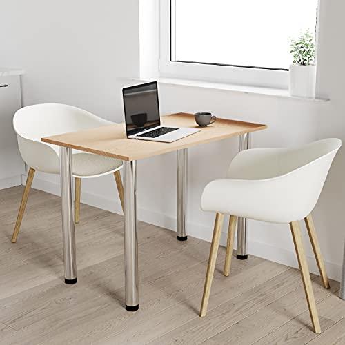 60x60 | Esszimmertisch - Esstisch - Tisch mit Chrombeinen - Küchentisch - Bürotisch | Eiche HELL