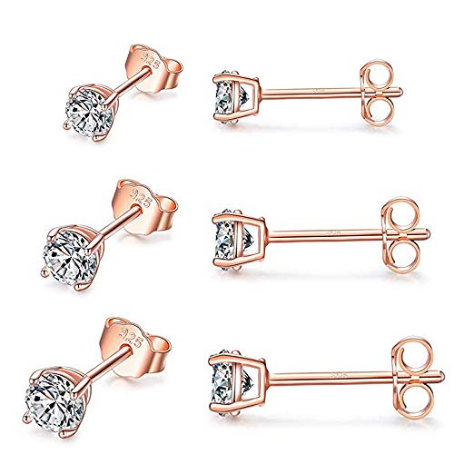 PRETTERY Silver Stud Earrings Set, 3 Pairs 925 Sterling Silver Cubic Zirconia Stud Earrings, Rose Gold Plated Hypoallergenic Sleeper Cartilage Studs with Clear 5A Cubic Zirconia, Size 3-5mm