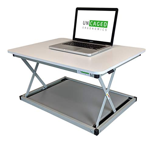 CHANGEdesk MINI small standing desk converter simple affordable adjustable height desktop riser for laptops single computer monitors portable compact lightweight ergonomic sit stand up tabletop stand