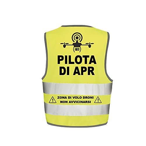 Fashion Graphic Gilet Pilota di Apr Drone Mod1 Alta visibilità Giallo Giubbotto Tre Taglie Catarifrangente Sicurezza ISO EN20471 (L/XL)