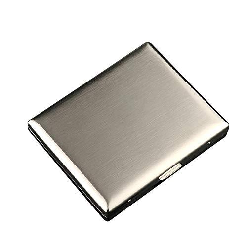 YANBEN Caja de Cigarrillos, Caja de Cigarrillo de Hierro Fuerte sólido sólido sólido súper Delgado de Metal, sostiene 20 Cigarrillos (Color : Silver, Size : 95mm*80mm*15mm)