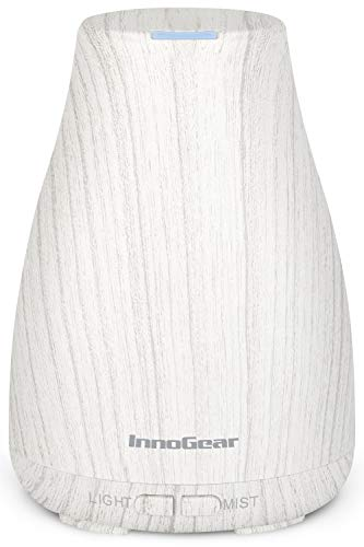 InnoGear Essential Oil Diffuser, Upgraded Diffusers for Essential Oils Aromatherapy Diffuser Cool Mist Humidifier with 7 Colors Lights 2 Mist Mode Waterless Auto Off for Home Office Room, White Grey
