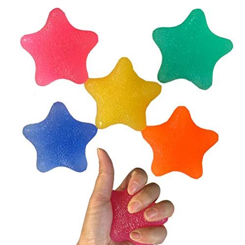 LINONI Fingertrainer, Sternform, Silikon, für Hand- und Fingerstärke, für Unterarm, Handgelenk, Karpal-Expander, Stressabbau, Fitnessgerät, 5 Stück